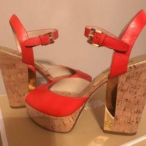 Mandarin Leather Platform Sandals by Michael Kors